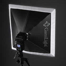 GamiLight SQUARE 43 softbox: mounted on Nissin Di866 Professional, back view
