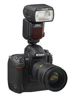 Nikon Speedlight SB-910 flash: On Nikon D3X camera body, front angle view