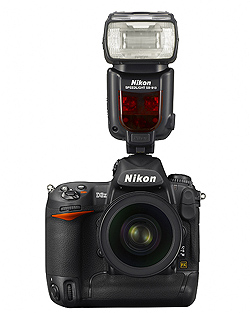 Nikon Speedlight SB-910 flash: On Nikon D3X camera body, front view