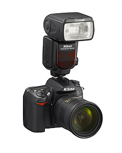 Nikon Speedlight SB-910 flash: On Nikon D7000 camera body, front angle view
