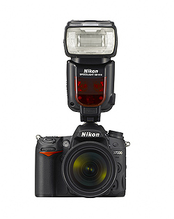 Nikon Speedlight SB-910 flash: On Nikon D7000 camera body, front view