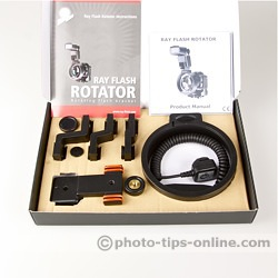 Ray Flash Rotator flash bracket: content of the box, bracket with TTL cord,
