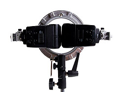 Double Flash Speedring Bracket (LP739): back view with two flashes
