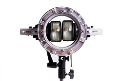 Double Flash Speedring Bracket (LP739): front view with two flashes