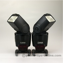 Canon Speedlite 430EX vs. Canon Speedlite 430EX II: front view, heads turned out