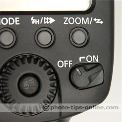 Canon Speedlite 580EX II: power switch, on/off