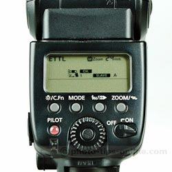 Canon Speedlite 580EX II: slave mode, group A, channel 1