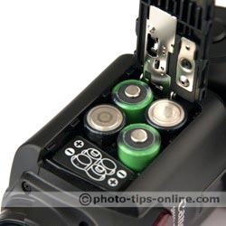 Canon Speedlite 430EX II flash: battery compartment, door open
