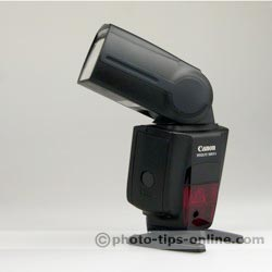 Canon Speedlite 580EX II flash: flash tilted 75 degrees, rotated 120 degrees