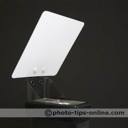 Demb Flip-it! flash reflector: mounted of a narrow flash head side, front