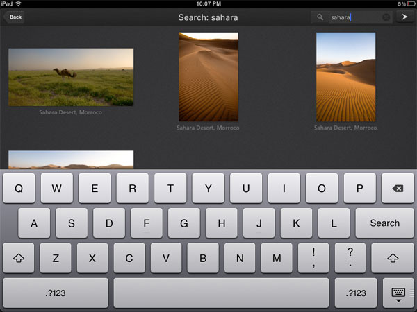 Focus Point iPad photo browser: search function