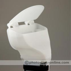 Gary Fong WhaleTail flash diffuser: top flap at 45 degrees