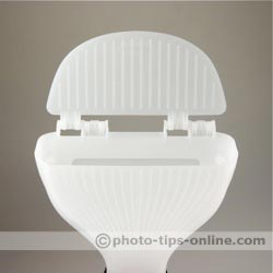 Gary Fong WhaleTail flash diffuser: top flap open, front view