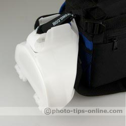 Gary Fong WhaleTail flash diffuser: attached to a small camera bag