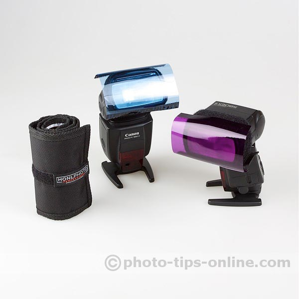 Honl Photo Filter Roll-Up: compared in size to Canon Speedlite 580EX II
