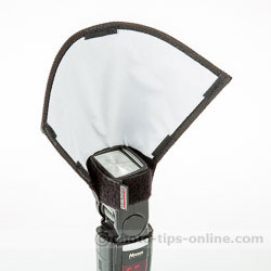 Honl Photo Light Paddle: mounted on a narrow side of the flash