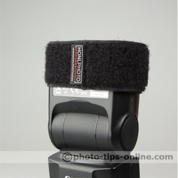 Honl Photo Speed Strap: on the flash, logo