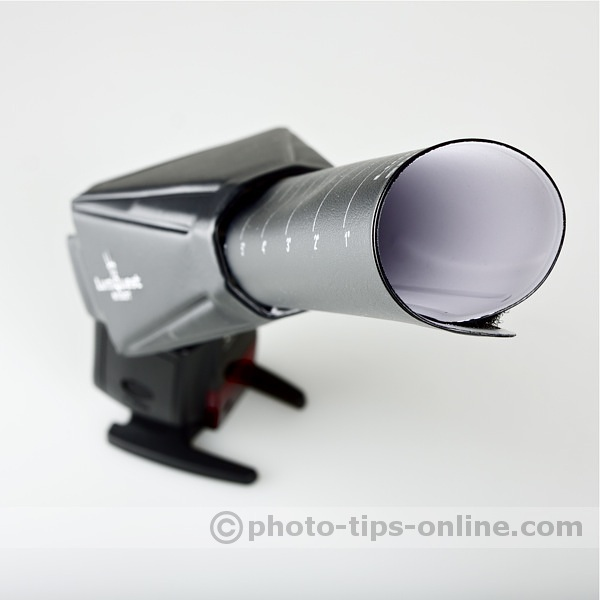 LumiQuest Snoot XTR: extender set to the narrowest beam position