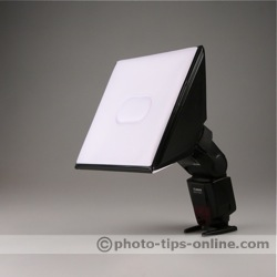 LumiQuest Softbox III flash diffuser: on a flash, angle view