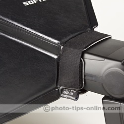 LumiQuest Softbox LTp flash diffuser: attachment with LumiQuest UltraStrap