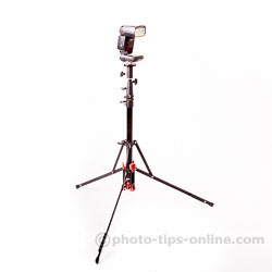 LumoPro Convertible light stand / monopod: flash installed