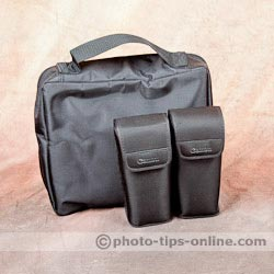 LumoPro LP739 Double Flash Speedring Bracket: carrying case next to Canon pouches