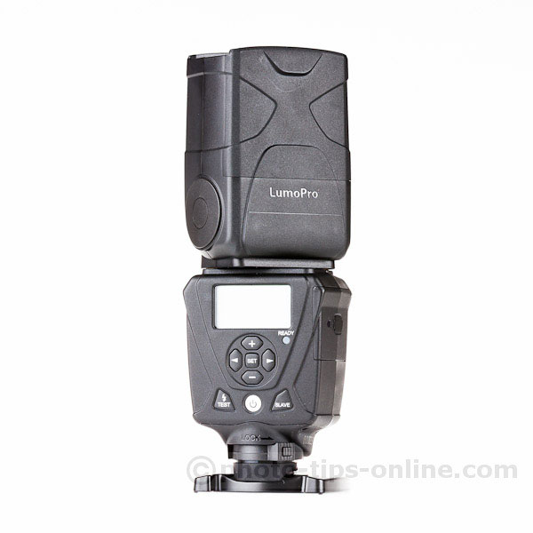LumoPro LP180 flash: back angle view