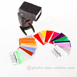 LumoPro LP180 flash: 22 included color gels