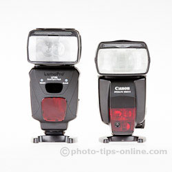 LumoPro LP180 flash: compared to Canon 580EX II, front