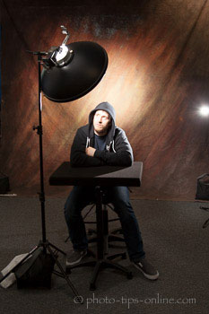LumoPro Posing Stool and Table: behind-the-scenes, male portrait