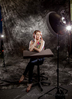 LumoPro Posing Stool and Table: behind-the-scenes, female  portrait