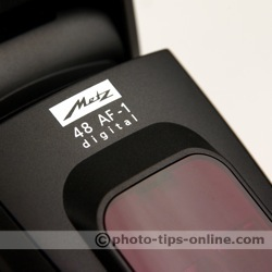 Metz Mecablitz 48 AF-1 flash: logo, close up