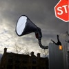 Nasty Clamps: Canon Speedlite 580EX II with Honl Photo traveller8 diffuser mounted onto a road sign
