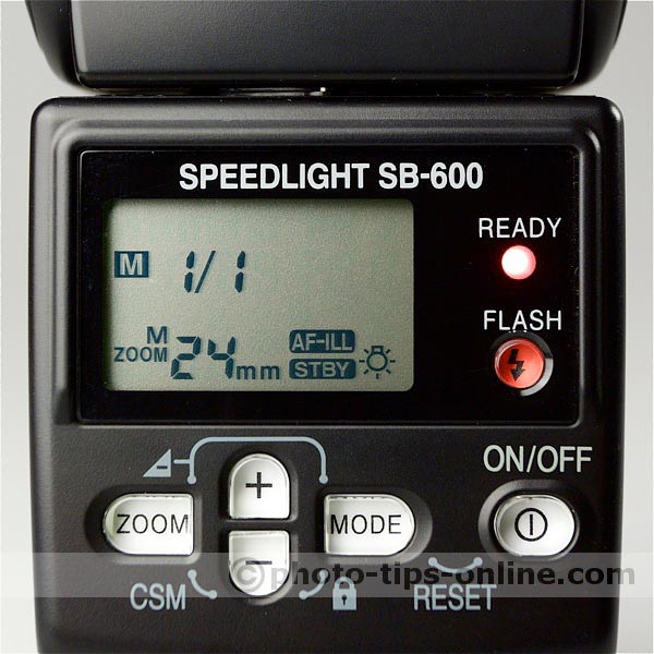 Nikon Speedlight SB-600 flash: LCD screen layout