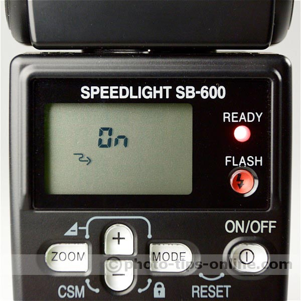 Nikon Speedlight SB-600 flash: custom functions, remote ON