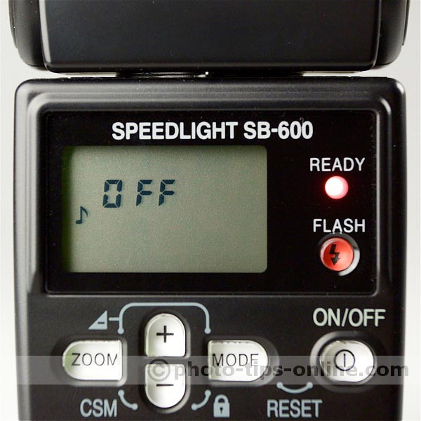 Nikon Speedlight SB-600 flash: custom functions, ready sound OFF