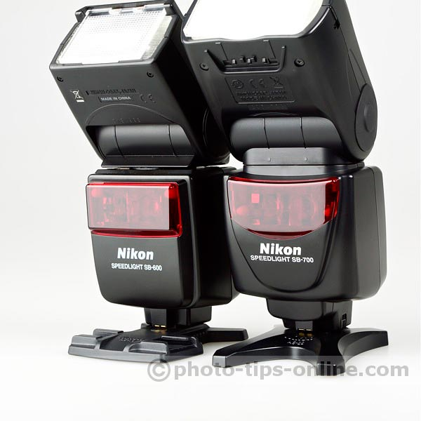 Nikon Speedlight SB-700 vs. Nikon Speedlight SB-600: front panel of the body, close up