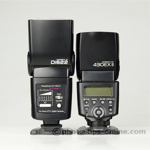 Nissin Di622 II vs. Canon Speedlite 430EX II: back view, height/size comparison