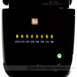 Nissin Di700 flash: Manual menu, full stop increments