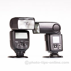 Nissin Di866 II vs. Phottix Mitros: flash head rotation to the left