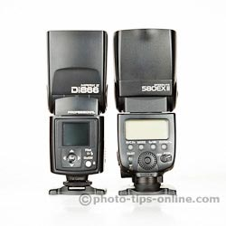 Nissin Di866 II vs. Canon Speedlite 580EX II: back view, flash head size