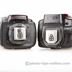 Nissin Di866 II vs. Canon Speedlite 580EX II: metal mounting feet, flash contacts