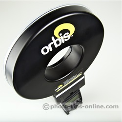 Orbis Ring Flash adapter: logo, close up