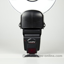 Orbis Ring Flash adapter: mounted on LumoPro LP160