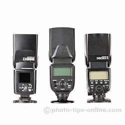 Phottix Mitros flash: compared to Nissin Di866 II and canon 580EX II, front