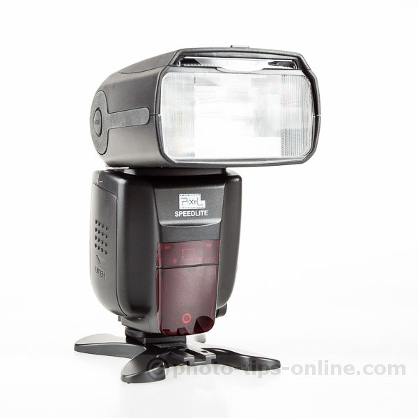 Pixel X800c Speedlite: front angle view, right