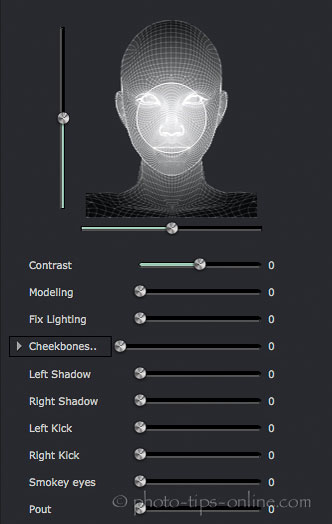 Portrait Professional 12: lighting controls, no effect, default