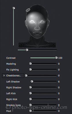 Portrait Professional 12: lighting controls, contrast light in the upper left corner