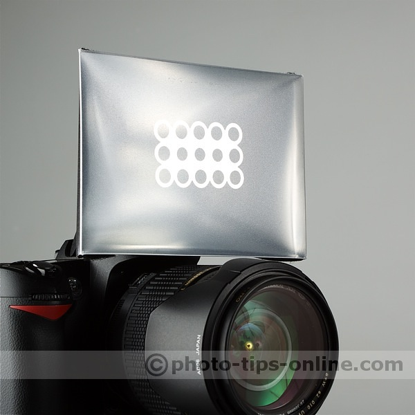 Promaster Universal Softbox for built-in flash: on camera, front view