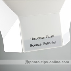 Promaster Universal Bounce Flash Reflector: product name on one of the attachment tabs